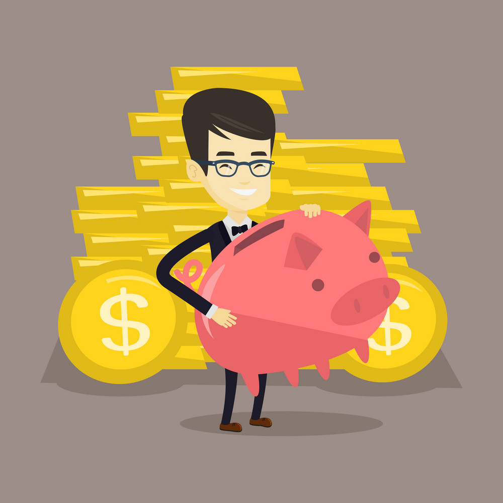 Asian cheerful business man with a piggy bank. Successful business man holding a big pink piggy bank. Young business man saving money in a piggy bank. Vector flat design illustration. Square layout.