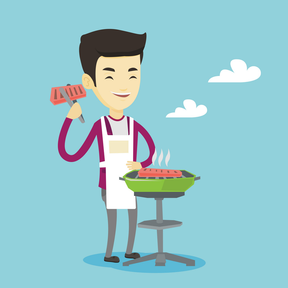 Asian cheerful man cooking steak on the barbecue grill outdoor. Smiling man preparing steak on the barbecue grill. Happy man having outdoor barbecue. Vector flat design illustration. Square layout.