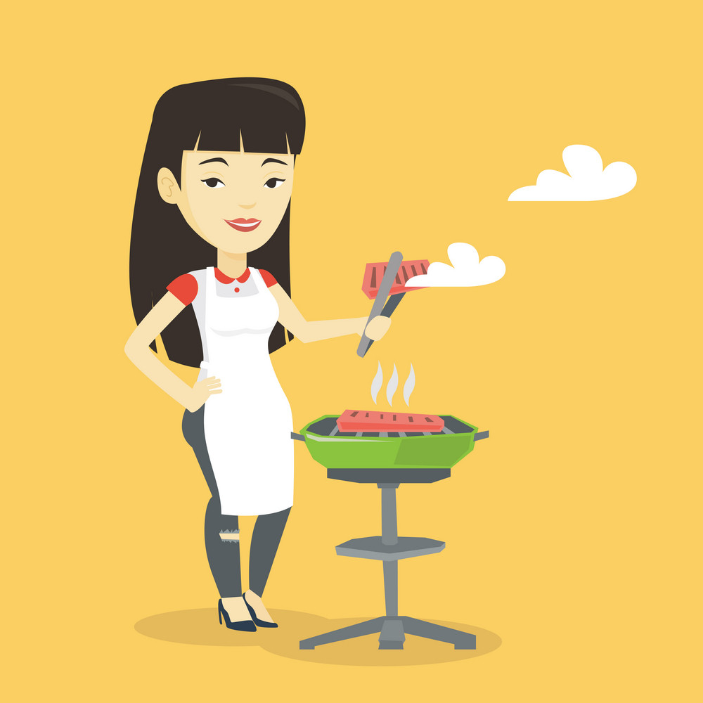 Asian cheerful woman cooking steak on the barbecue grill outdoor. Smiling woman preparing steak on the barbecue grill. Woman having outdoor barbecue. Vector flat design illustration. Square layout.