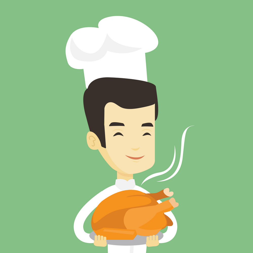 Asian chief cook in uniform and cap holding roasted chicken. Chief cook with whole baked chicken. Chief cook holding plate with just fried chicken. Vector flat design illustration. Square layout.