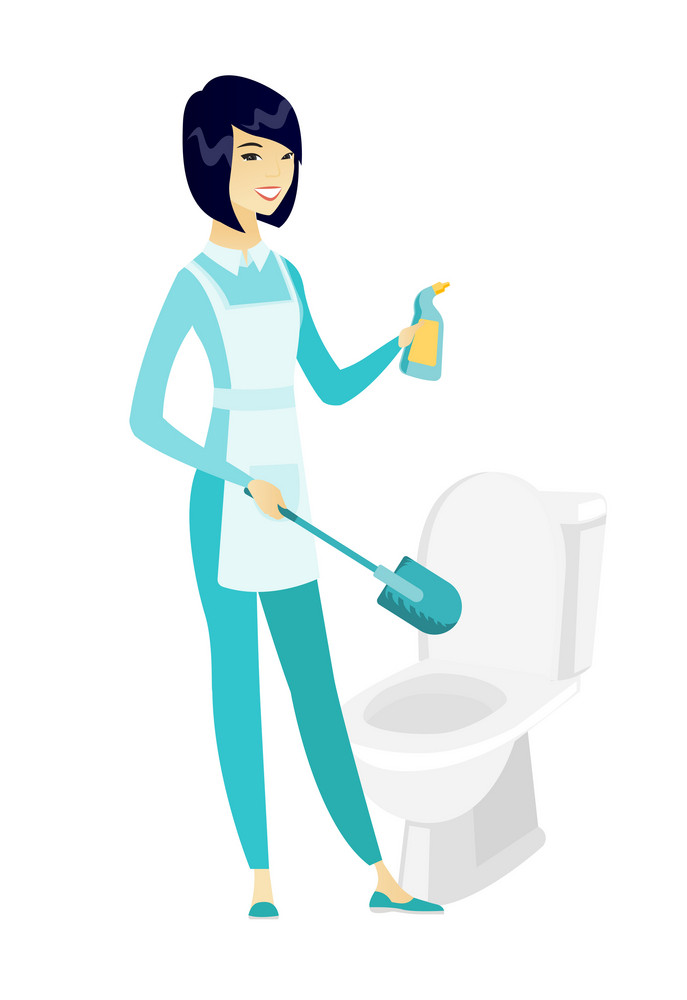 Asian cleaner in uniform cleaning toilet bowl with brush and detergent. Full length of young cleaner cleaning toilet seat using brush. Vector flat design illustration isolated on white background.