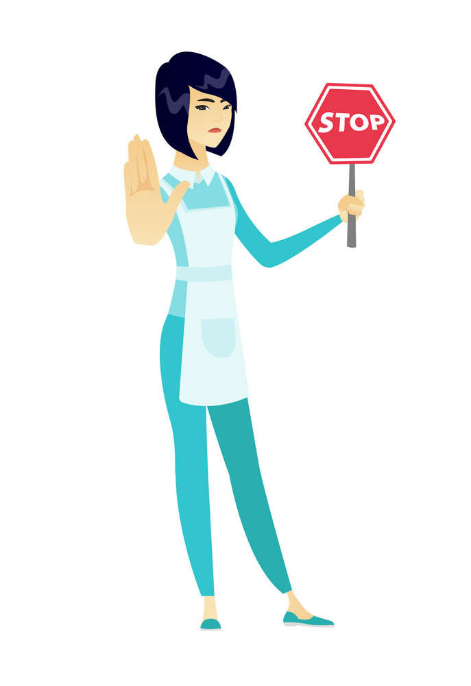 Asian cleaner in uniform showing stop road sign. Full length of young cleaner holding stop road sign. Serious cleaner with stop road sign. Vector flat design illustration isolated on white background.