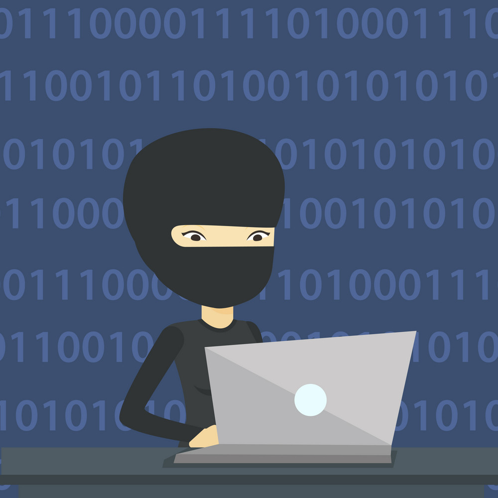 Asian computer hacker in mask working on laptop on the background with binary code. Hacker using laptop to steal data and personal identity information. Vector flat design illustration. Square layout.