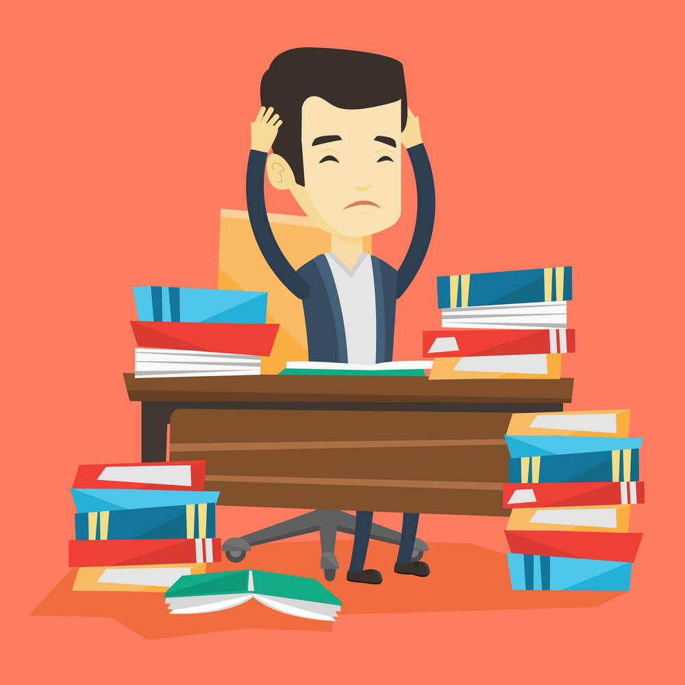 Asian concerned student studying hard before exam. Young stressed student studying with textbooks. Desperate student studying in the library. Vector flat design illustration. Square layout.