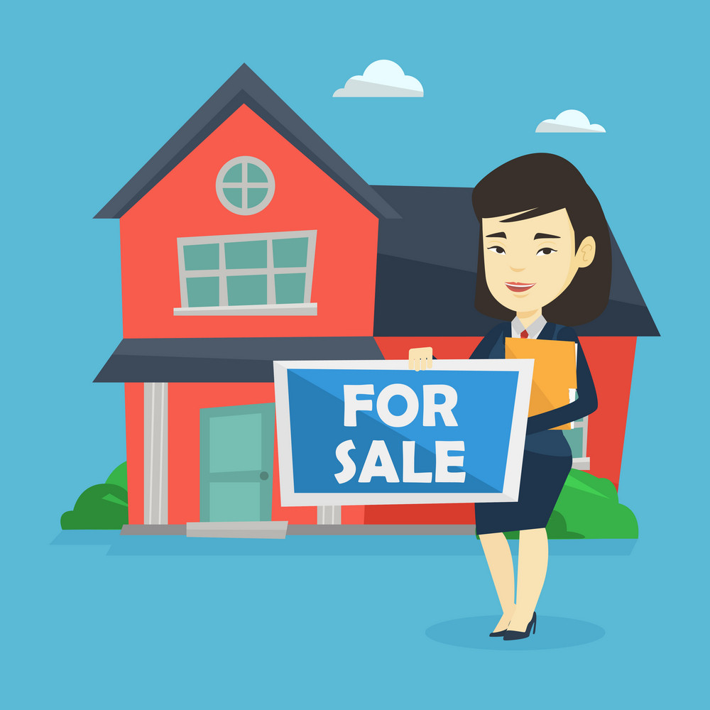 Asian confident realtor offering the house. Young smiling realtor with placard for sale and documents in hands standing on the background of house. Vector flat design illustration. Square layout.