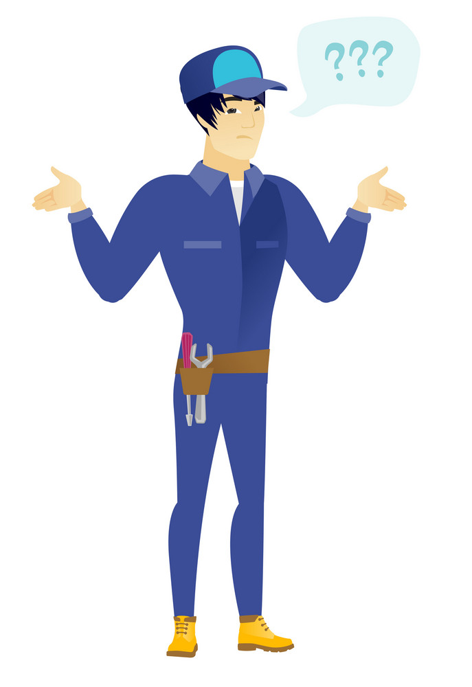 Asian confused mechanic with spread arms. Full length of confused mechanic with question marks. Confused mechanic shrugging shoulders. Vector flat design illustration isolated on white background.