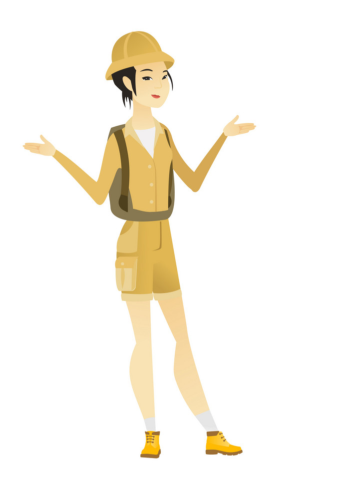 Asian confused traveler with spread arms. Full length of confused traveler with spread arms. Confused traveler shrugging her shoulders. Vector flat design illustration isolated on white background.