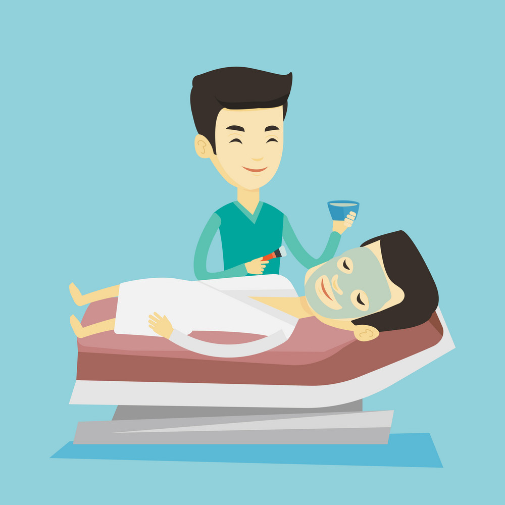 Asian cosmetologist applying facial cosmetic mask on face of client in beauty salon. Man lying on table in beauty salon during cosmetology procedure. Vector flat design illustration. Square layout.