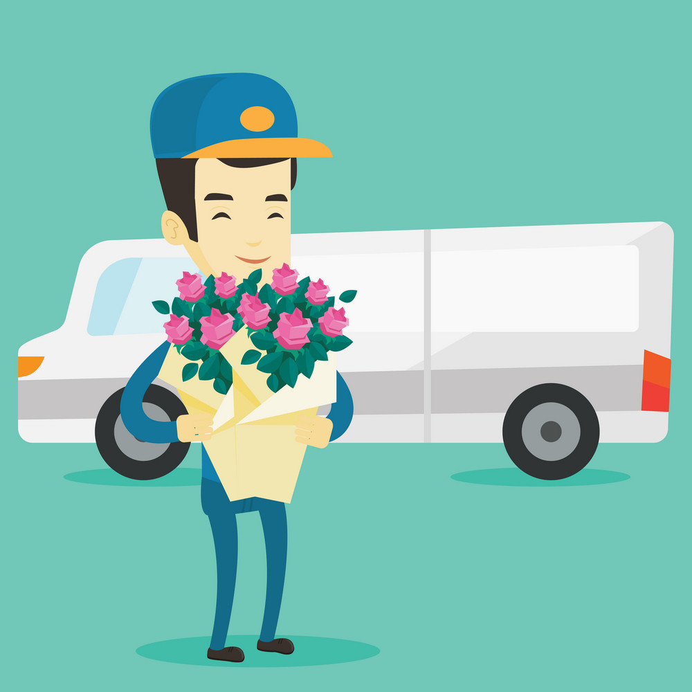 Asian courier with flowers on background of delivery truck. Delivery courier holding bouquet of flowers. Young delivery courier delivering flowers. Vector flat design illustration. Square layout.