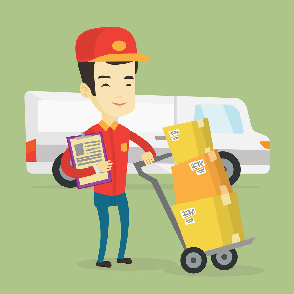 Asian delivery courier with cardboard boxes on troley. Young delivery courier holding cardboard clipboard. Courier standing in front of delivery van. Vector flat design illustration. Square layout.