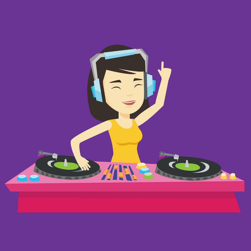 Asian DJ in headphones at the party in night club. Young female DJ mixing music on turntables. DJ playing and mixing music on deck. Vector flat design illustration. Square layout.