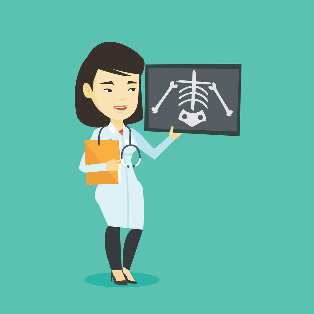 Asian doctor examining a radiograph. Young smiling doctor in medical gown looking at a chest radiograph. Doctor observing a skeleton radiograph. Vector flat design illustration. Square layout.