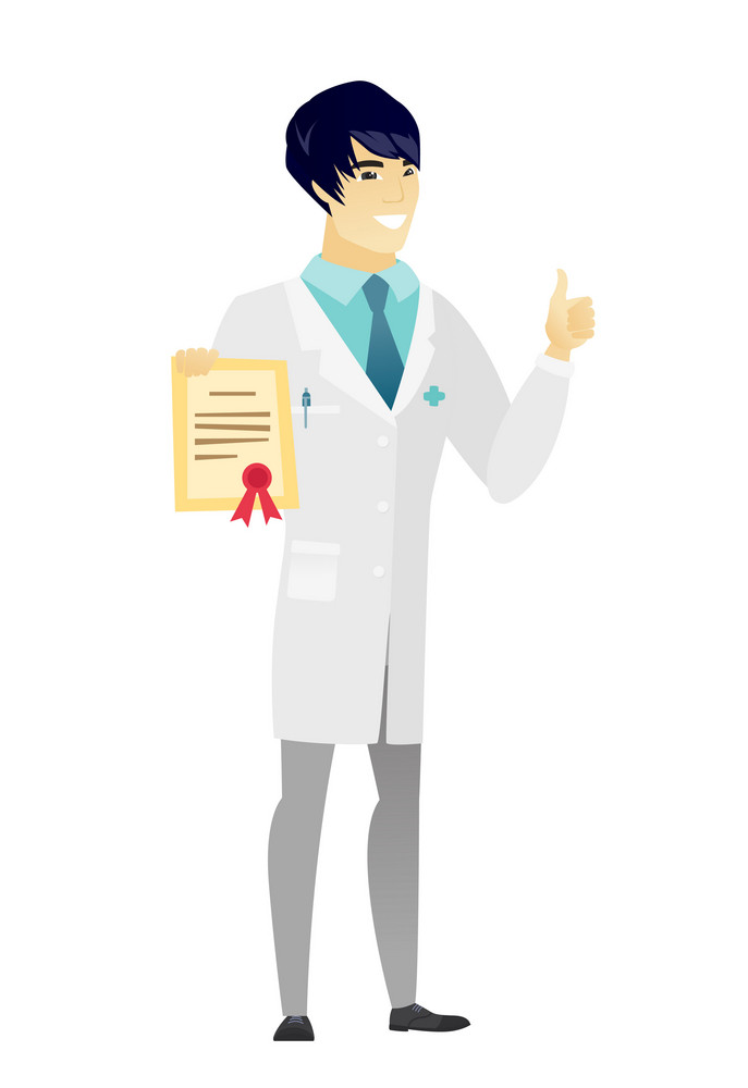Asian doctor holding a certificate. Full length of doctor with certificate. Doctor in medical gown showing certificate and thumbs up. Vector flat design illustration isolated on white background.