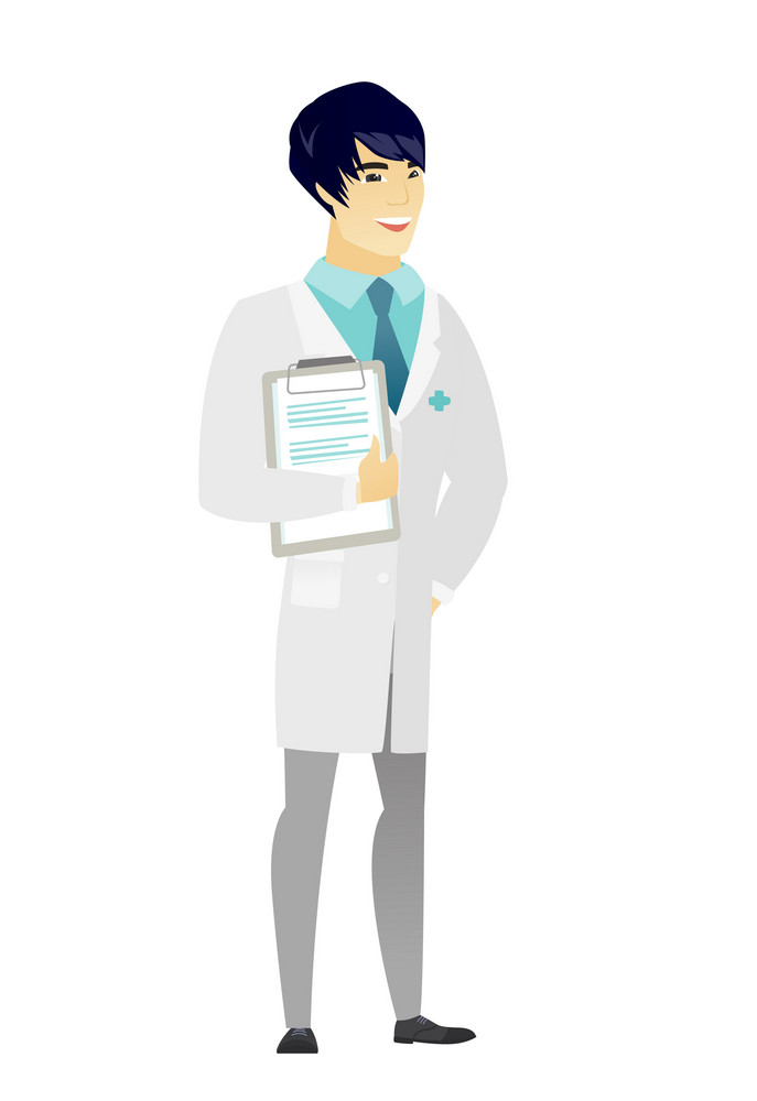 Asian doctor in medical gown holding clipboard with papers. Full length of doctor with papers. Young smiling doctor holding papers. Vector flat design illustration isolated on white background.