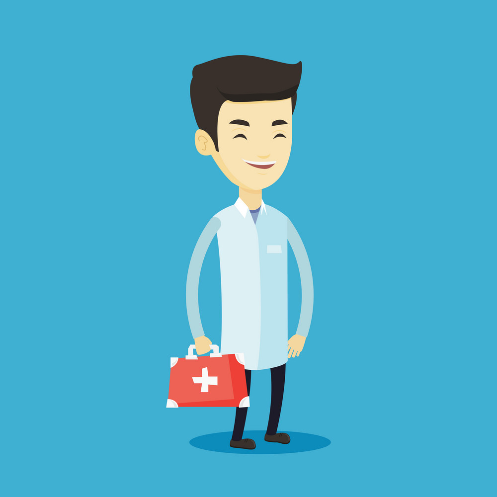 Asian doctor in medical gown holding first aid box. Friendly doctor in uniform standing with first aid kit. Doctor carrying first aid box. Vector flat design illustration. Square layout.