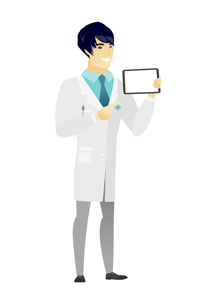 Asian doctor in medical gown holding tablet computer. Full length of doctor pointing at tablet computer. Doctor with tablet computer. Vector flat design illustration isolated on white background.