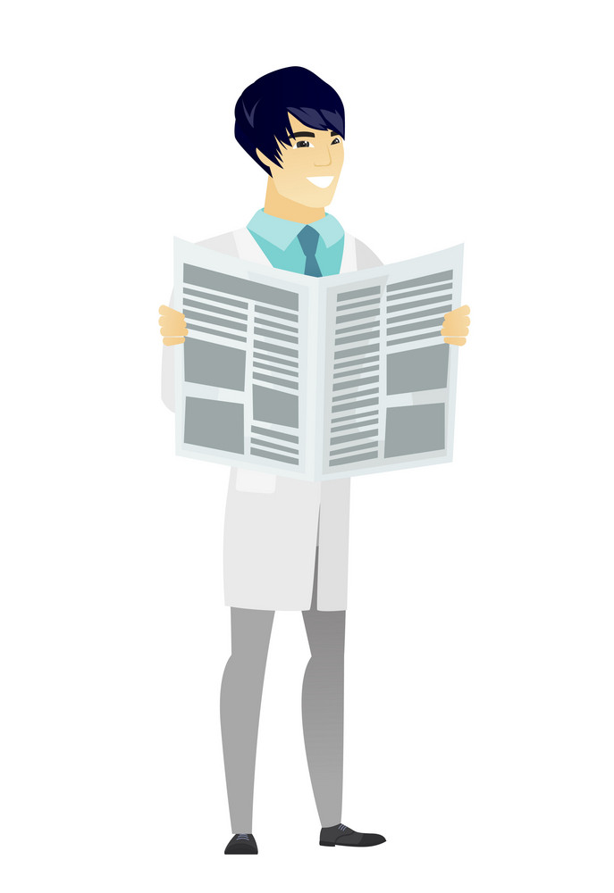 Asian doctor in medical gown reading newspaper. Happy doctor standing with newspaper in hands. Doctor reading good news in newspaper. Vector flat design illustration isolated on white background.