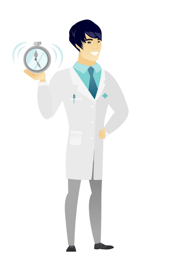 Asian doctor in medical gown showing ringing alarm clock. Full length of young doctor with alarm clock. Happy doctor holding alarm clock. Vector flat design illustration isolated on white background.