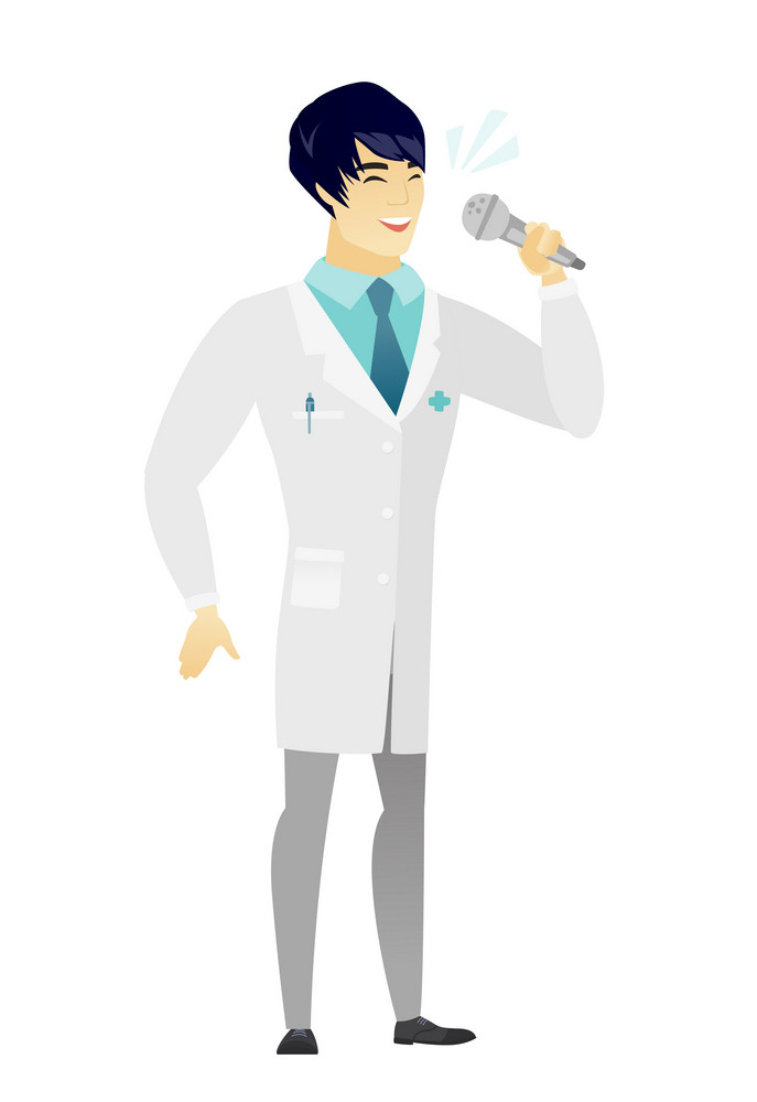 Asian doctor in medical gown singing to the microphone. Full length of doctor singing with closed eyes. Happy doctor singing to the mic. Vector flat design illustration isolated on white background.