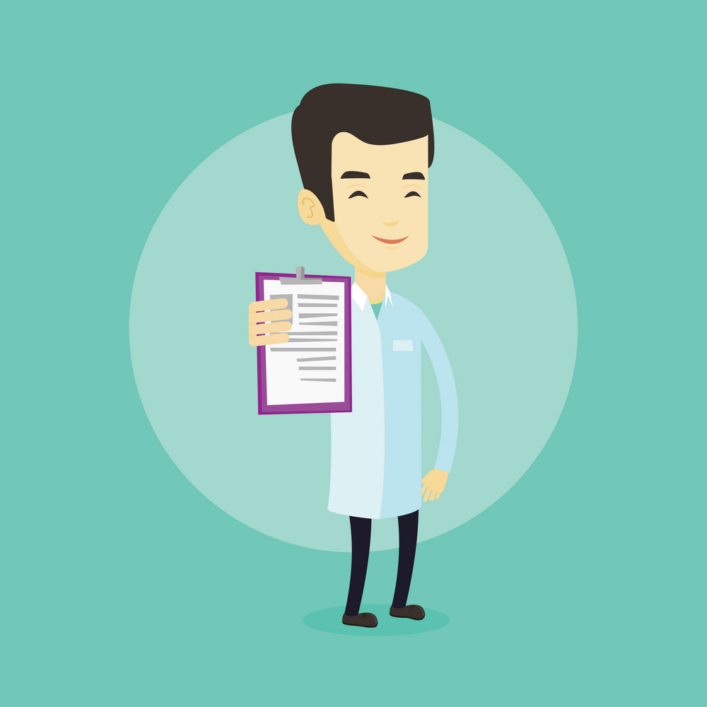 Asian doctor showing patient records. Young smiling doctor showing clipboard with prescription. Doctor in medical gown holding clipboard with notes. Vector flat design illustration. Square layout.