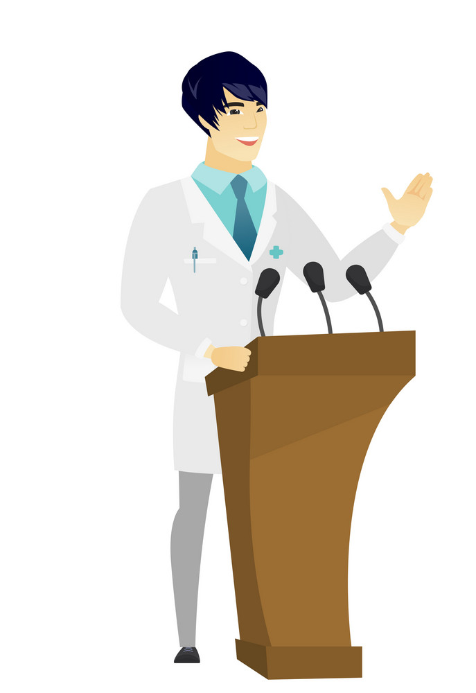 Asian doctor speaking to audience from tribune. Doctor giving speech from tribune. Doctor standings behind tribune with microphones. Vector flat design illustration isolated on white background.