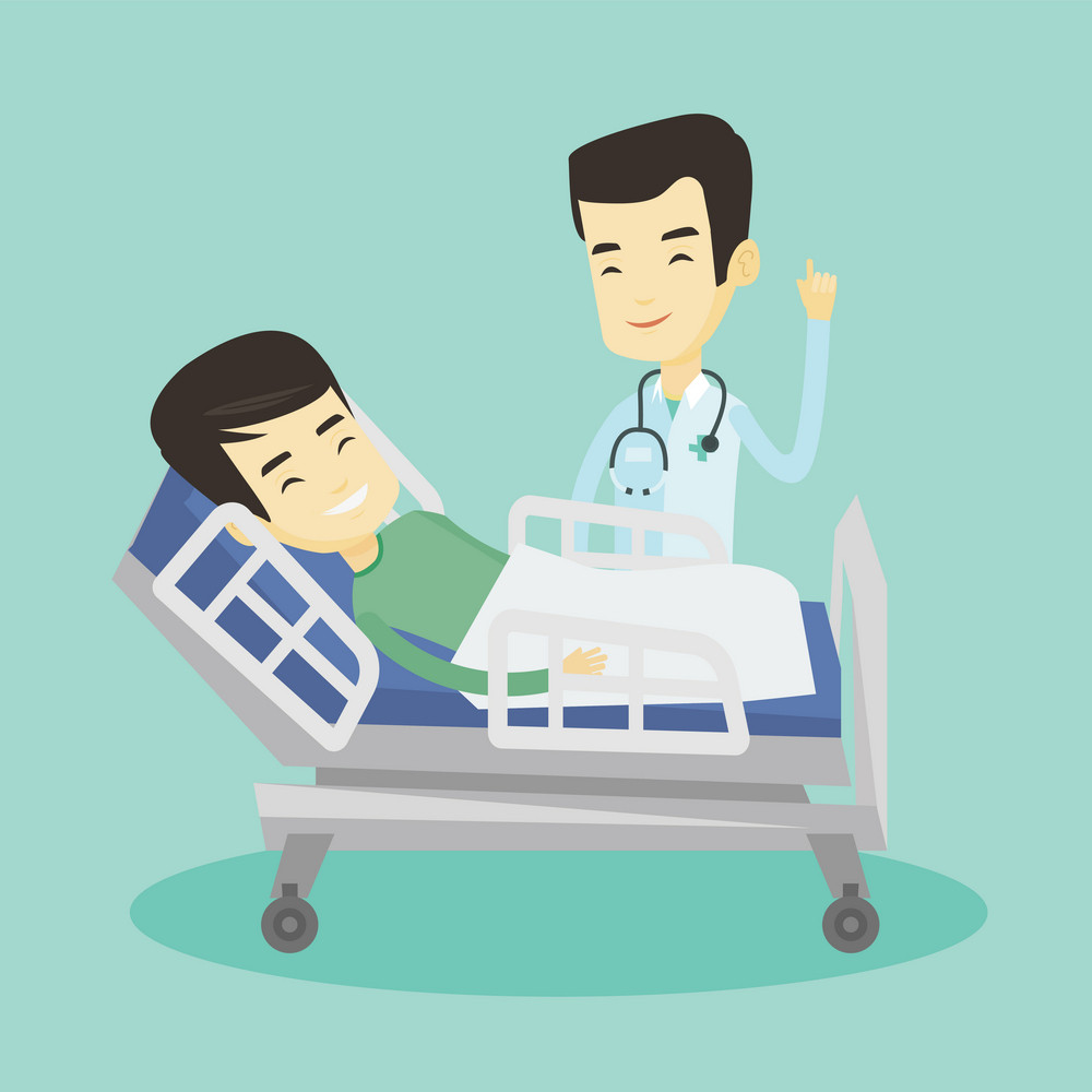 Asian doctor visiting patient. Doctor pointing finger up during visiting of patient. Young smiling man lying in hospital bed while doctor visits him. Vector flat design illustration. Square layout.