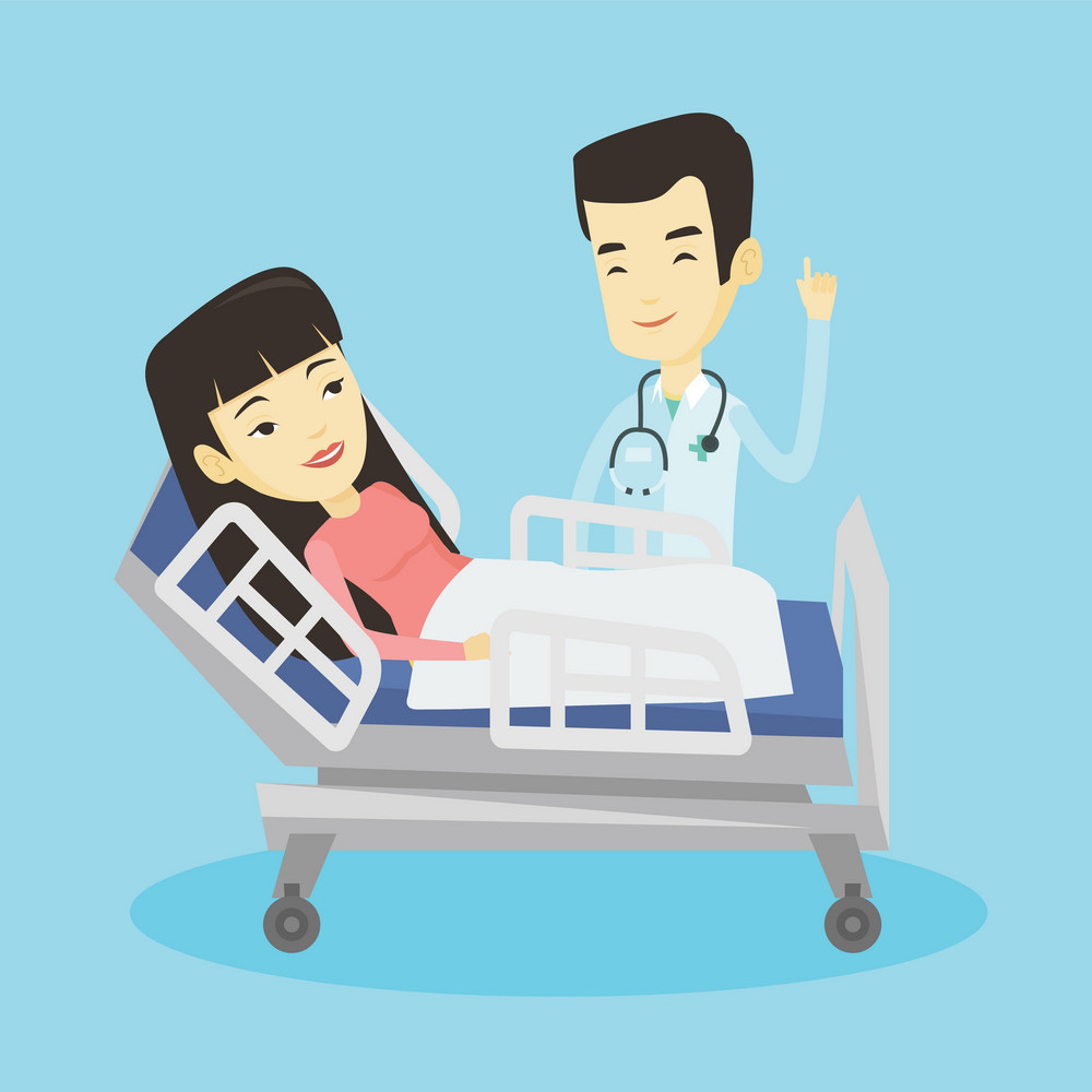 Asian doctor visiting patient. Doctor pointing finger up during visiting of patient. Young smiling woman lying in hospital bed while doctor visits her. Vector flat design illustration. Square layout.