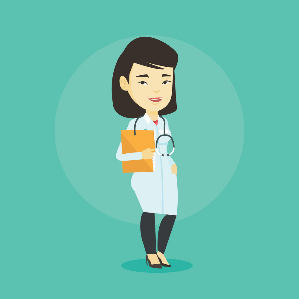 Asian doctor with stethoscope and folder. Young doctor in medical gown carrying folder of patient. Doctor holding folder with medical information. Vector flat design illustration. Square layout.