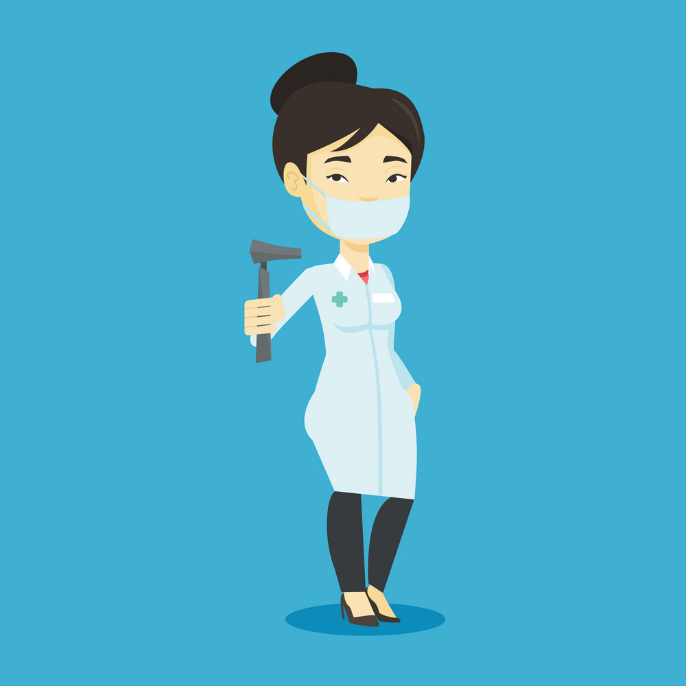 Asian ear nose throat doctor holding medical tool. Young doctor in medical gown and mask with tools used for examination of ear, nose, throat. Vector flat design illustration. Square layout.