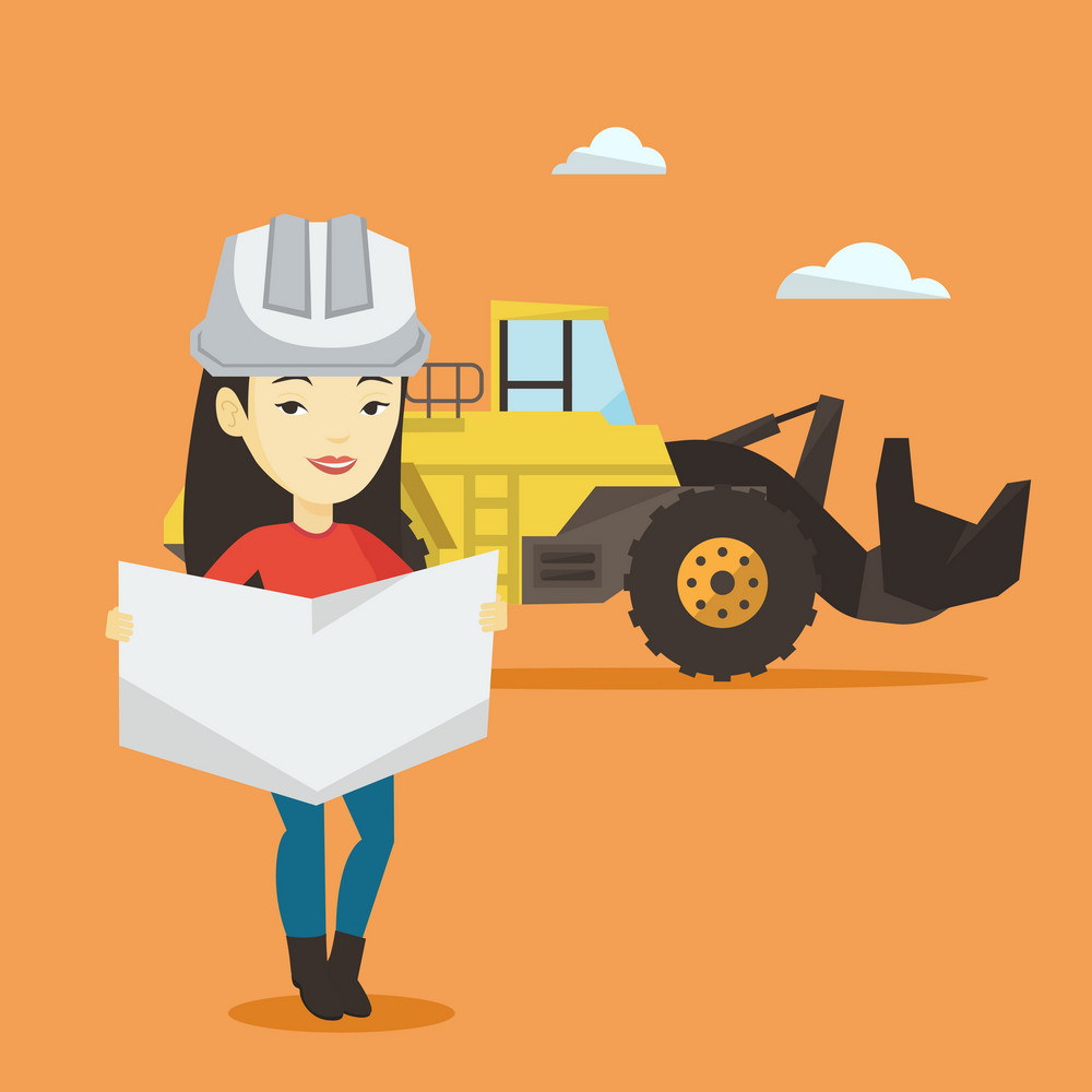 Asian engineer watching a blueprint at construction site. Engineer with blueprint standing on the background of excavator. Engineer holding a blueprint. Vector flat design illustration. Square layout.
