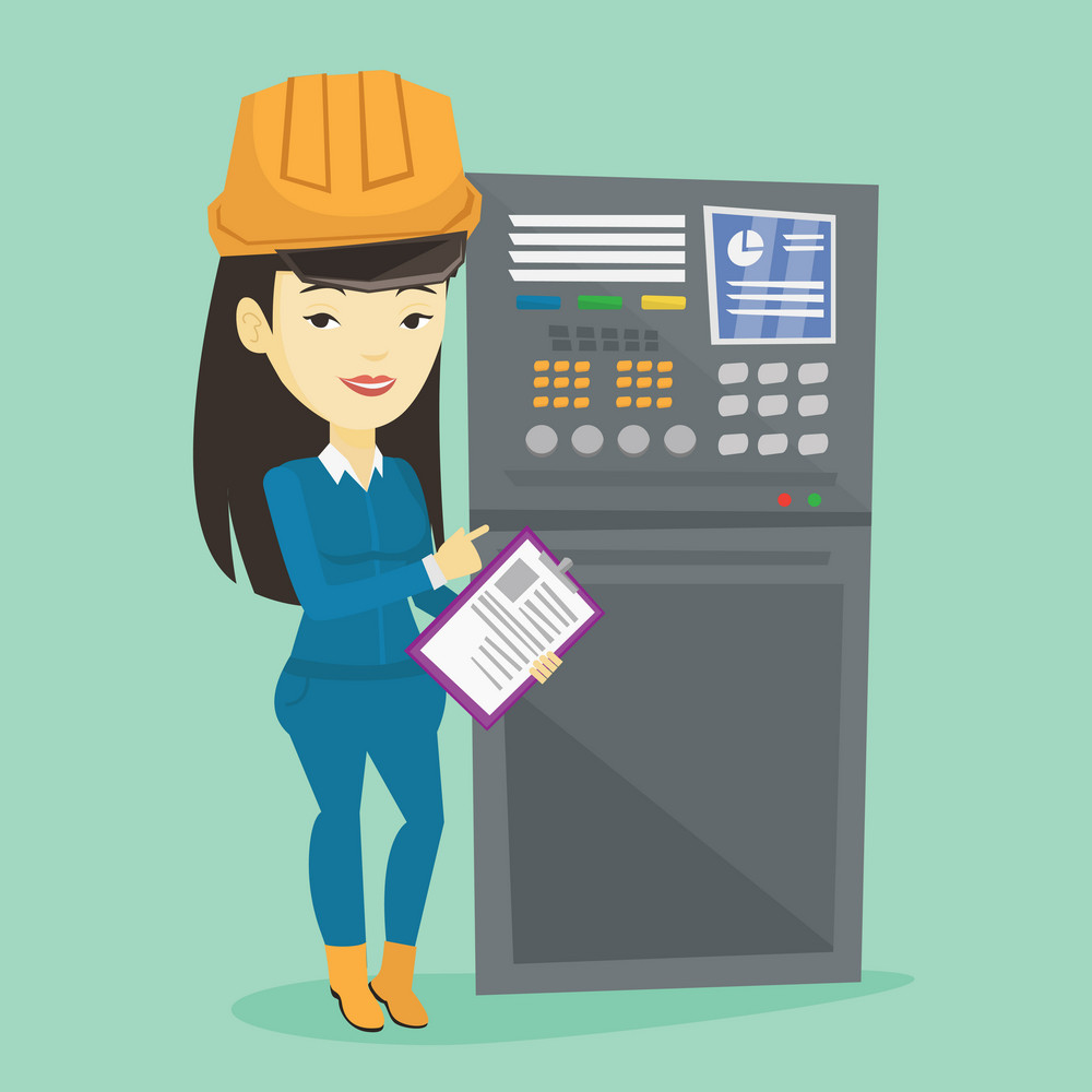 Asian engineer with clipboard standing in front of the control panel. Woman working on control panel. Young worker pressing button at control panel. Vector flat design illustration. Square layout.