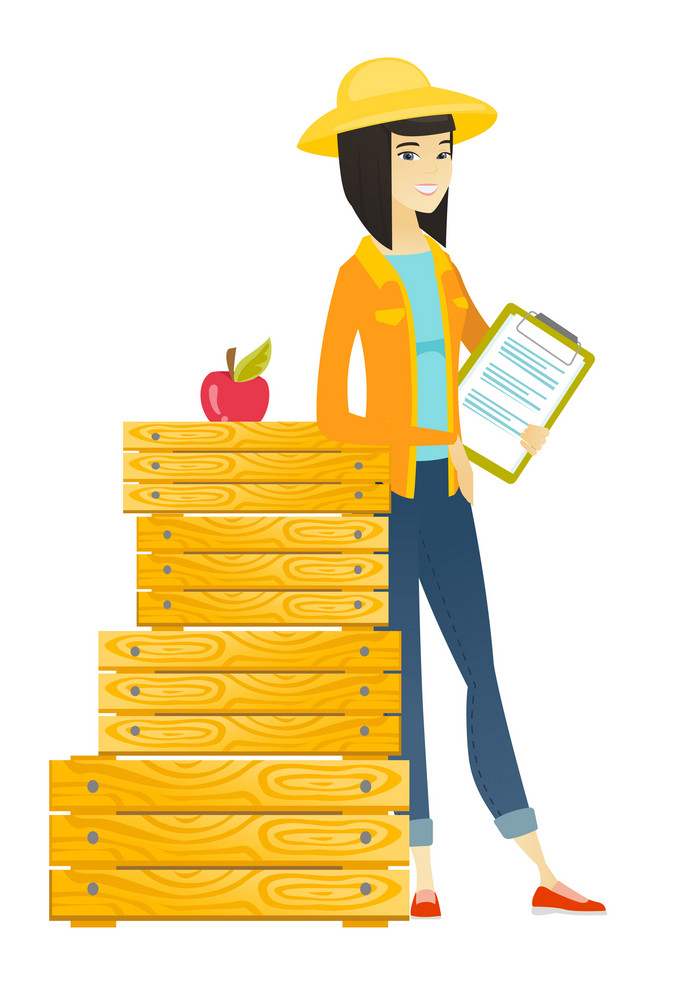 Asian farmer holding a clipboard with documents. Full length of young farmer holding documents near crates. Farmer holding documents. Vector flat design illustration isolated on white background.