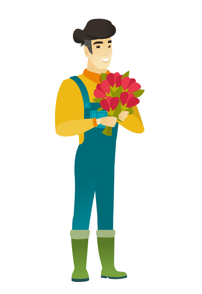 Asian farmer in coveralls holding a bouquet of flowers. Full length of cheerful farmer with bouquet of flowers. Happy farmer with flowers. Vector flat design illustration isolated on white background.