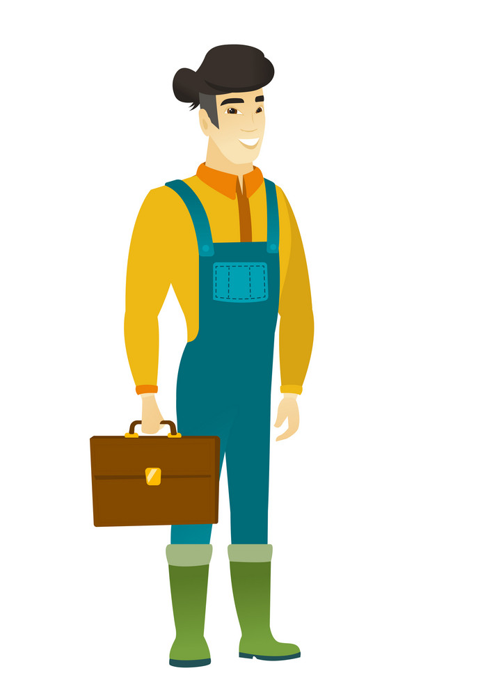 Asian farmer in coveralls holding a briefcase. Full length of young farmer with briefcase. Widely smiling farmer holding a briefcase. Vector flat design illustration isolated on white background.