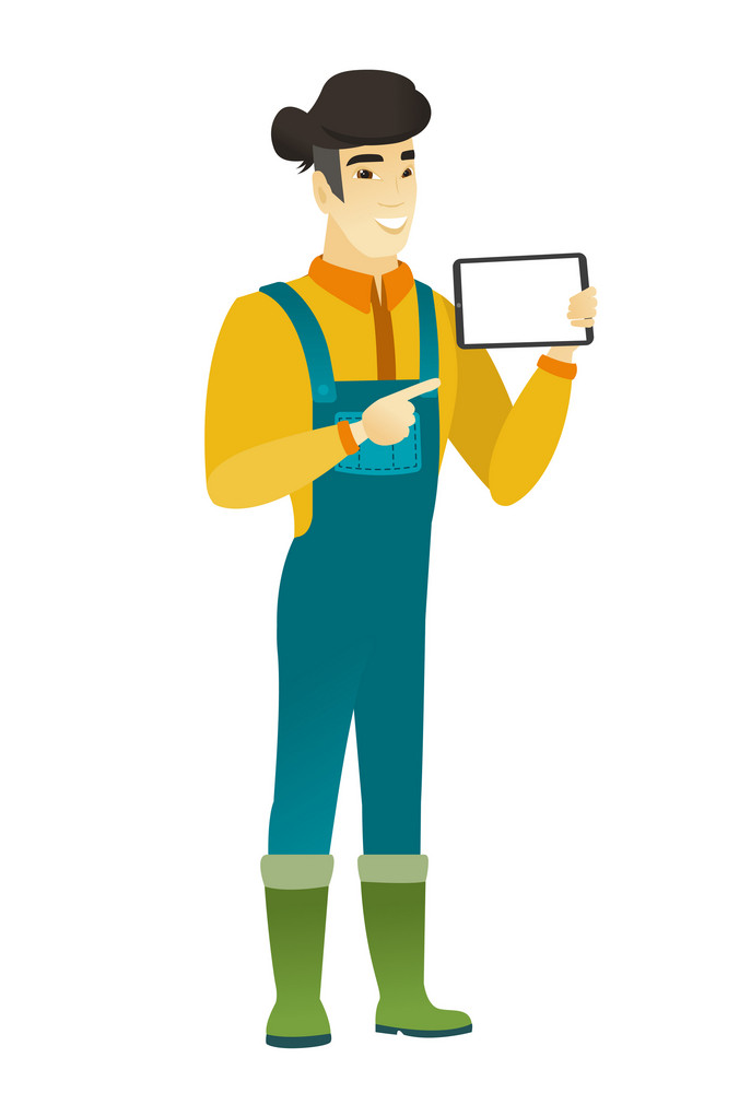 Asian farmer in coveralls holding a tablet computer. Full length of young farmer pointing at tablet computer. Farmer with tablet computer. Vector flat design illustration isolated on white background.