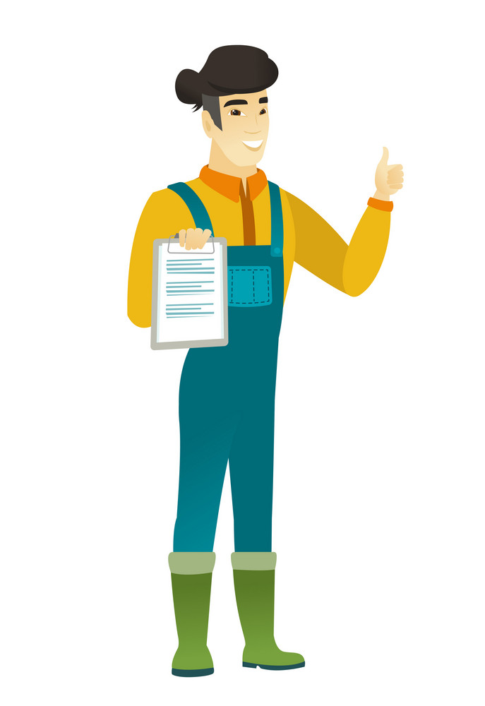 Asian farmer in coveralls holding clipboard and giving thumb up. Full length of young farmer with clipboard. Farmer showing clipboard. Vector flat design illustration isolated on white background.