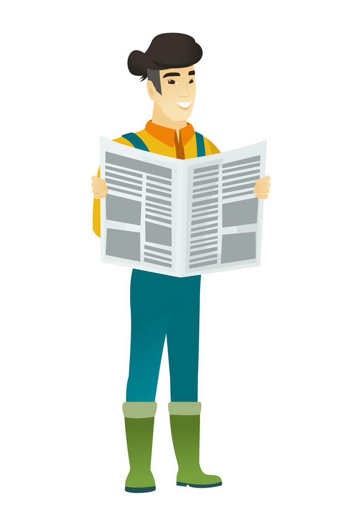 Asian farmer in coveralls reading a newspaper. Happy farmer standing with newspaper in hands. Farmer reading good news in newspaper. Vector flat design illustration isolated on white background.
