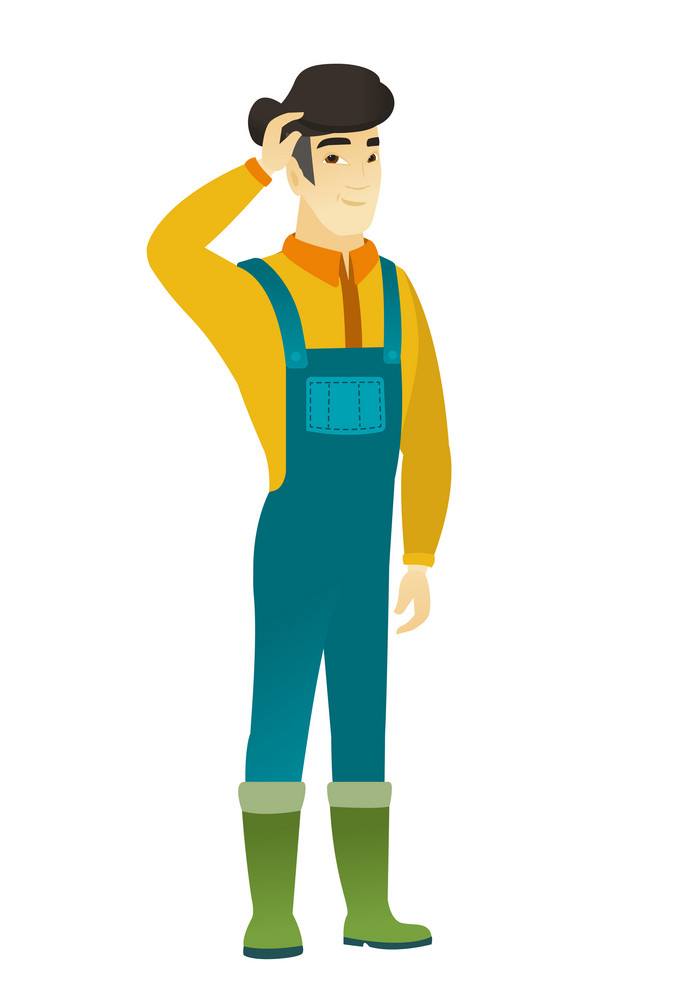 Asian farmer in coveralls scratching his head. Full length of thoughtful farmer scratching head. Puzzled farmer scratching his head. Vector flat design illustration isolated on white background.