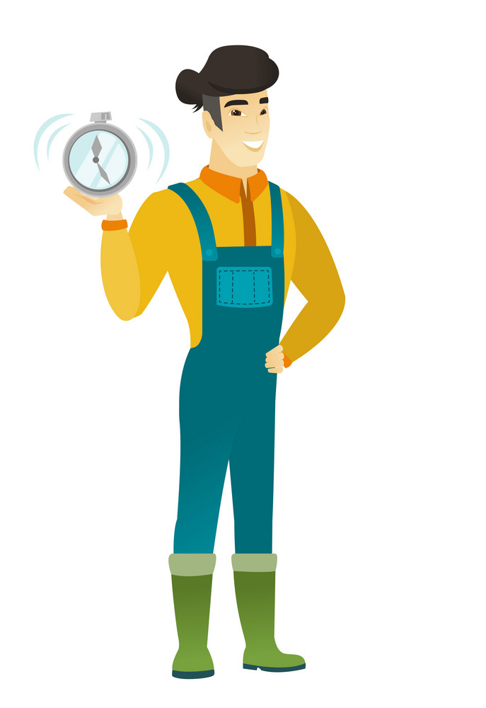 Asian farmer in coveralls showing ringing alarm clock. Full length of young farmer with alarm clock. Happy farmer holding alarm clock. Vector flat design illustration isolated on white background.