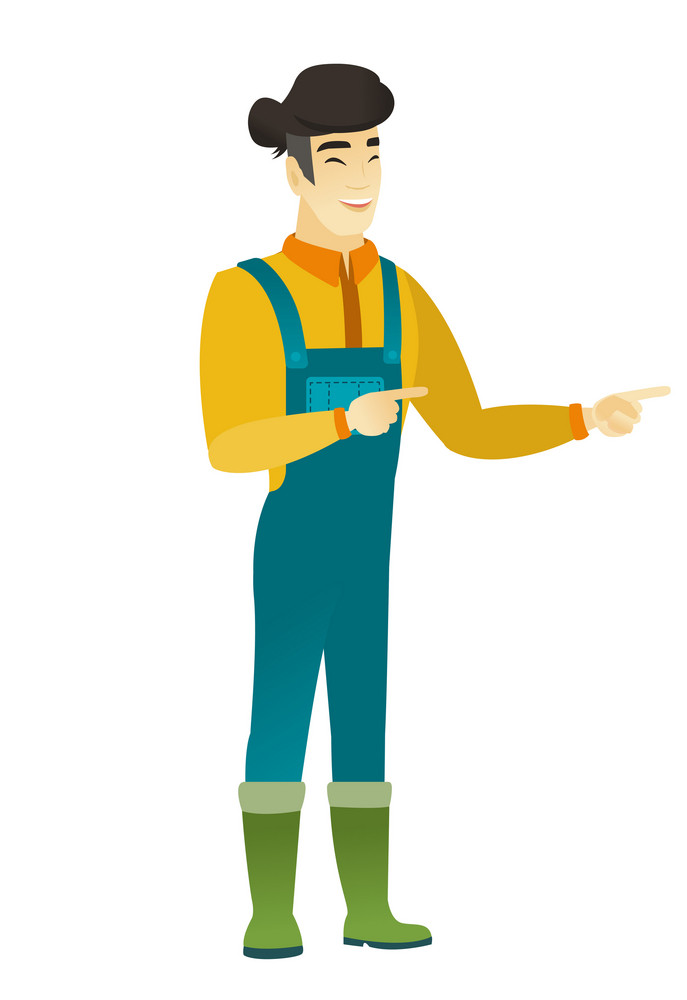 Asian farmer indicating with two fingers to the side. Full length of cheerful farmer in coveralls pointing with two fingers to the side. Vector flat design illustration isolated on white background.