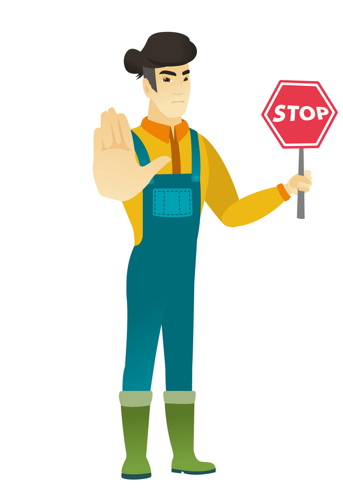 Asian farmer showing stop road sign. Full length of farmer in coveralls holding stop road sign. Serious farmer with stop road sign. Vector flat design illustration isolated on white background.