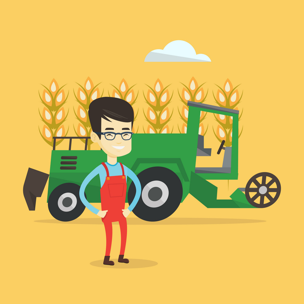 Asian farmer standing on the background of combine harvester working in wheat field. Young smiling farmer and combine harvester harvesting wheat. Vector flat design illustration. Square layout.