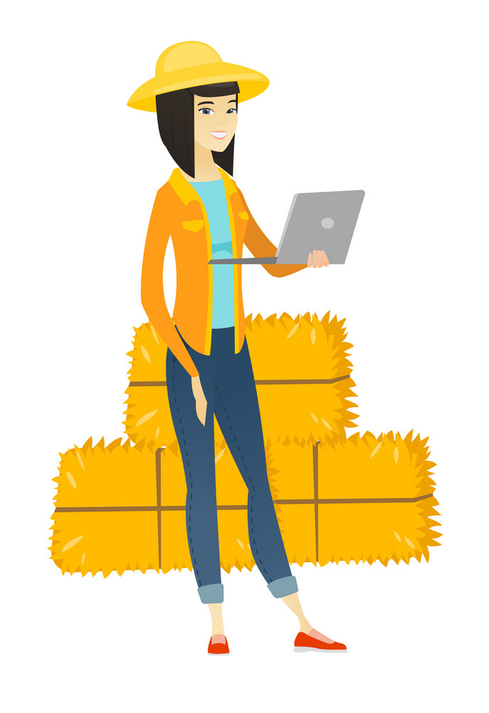 Asian farmer using a laptop on the background of hay bales. Full length of young farmer working on a laptop. Farmer holding a laptop. Vector flat design illustration isolated on white background.
