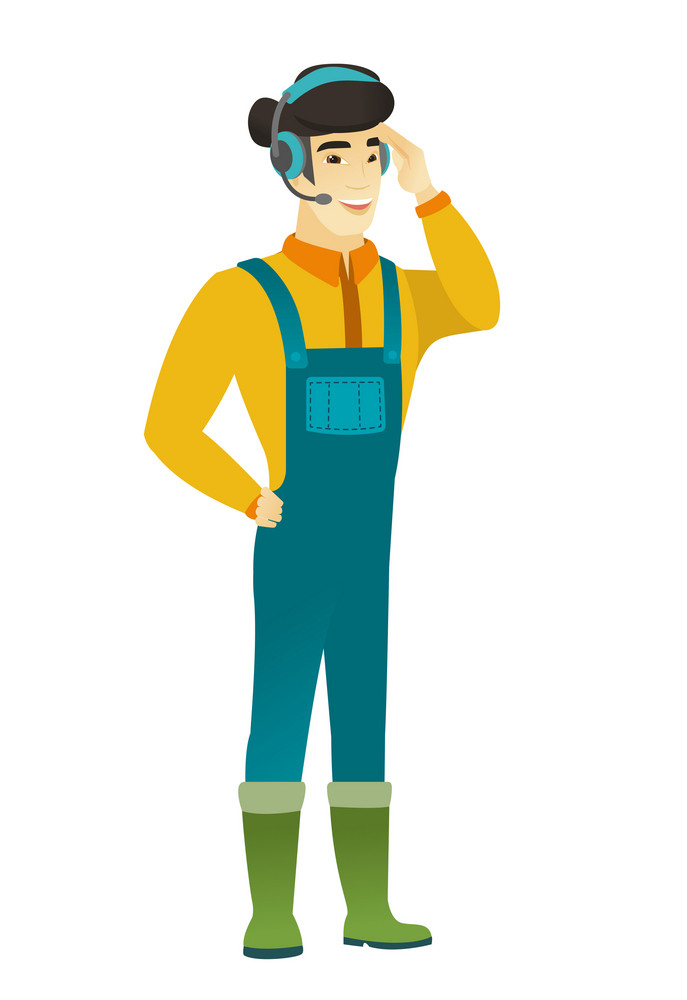 Asian farmer wearing headset with microphone. Full length of young farmer in coveralls wearing headset and talking into the microphone. Vector flat design illustration isolated on white background.