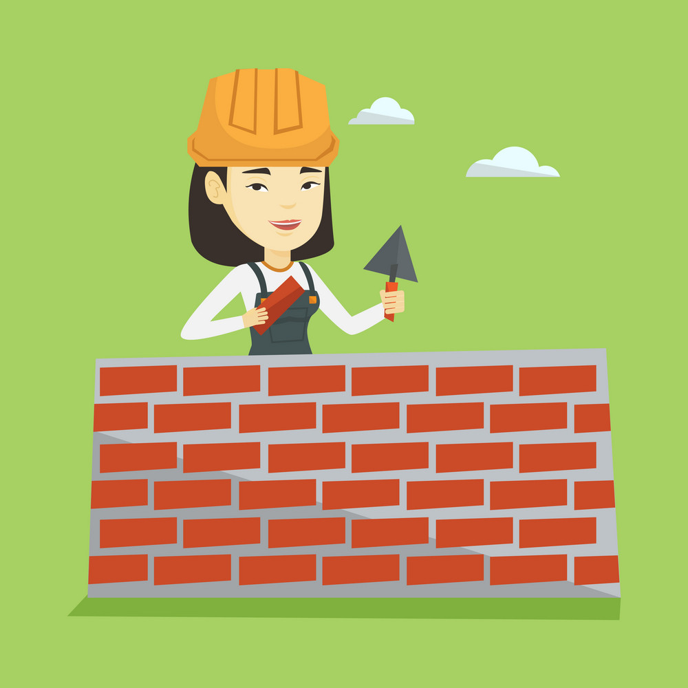 Asian female bricklayer in uniform and hard hat. Young bicklayer working with spatula and brick on construction site. Bricklayer building brick wall. Vector flat design illustration. Square layout.