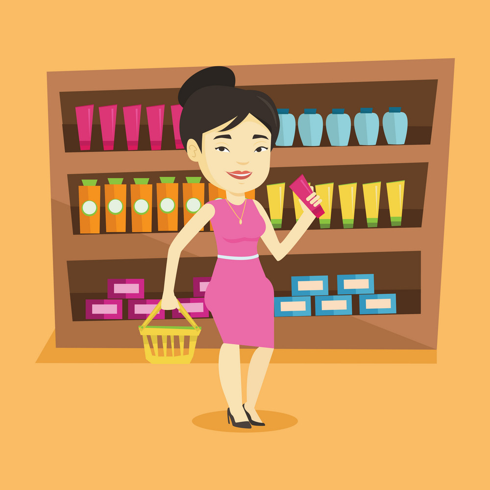 Asian female customer shopping at supermarket with basket. Young customer holding a shopping basket in one hand and a tube of cream in another. Vector flat design illustration. Square layout.