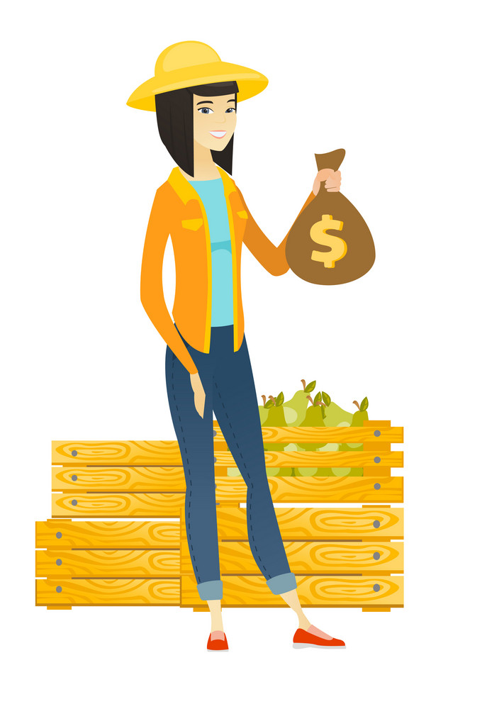Asian female farmer showing money bag with dollar sign on the background of crates with pears. Full length of young farmer with money bag. Vector flat design illustration isolated on white background.