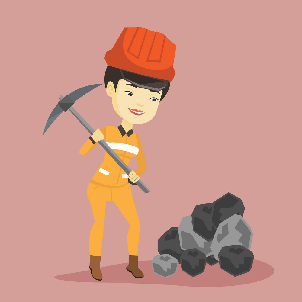 Asian female miner in hard hat working with a pickaxe. Female miner in helmet and workwear working at the coal mine. Young female miner at work. Vector flat design illustration. Square layout.