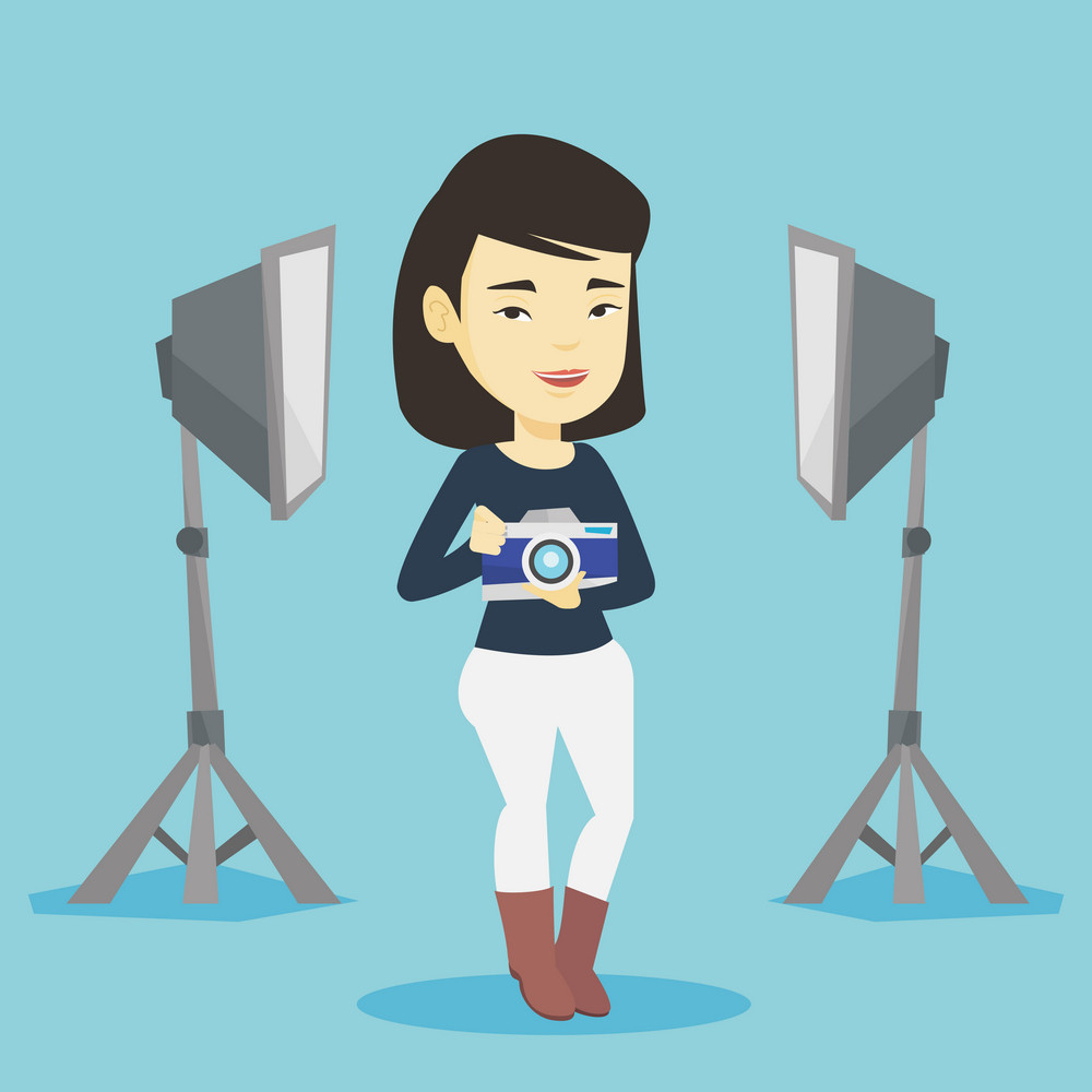 Asian female photographer holding a camera in photo studio. Photographer using professional camera in the studio. Young photographer taking a photo. Vector flat design illustration. Square layout.