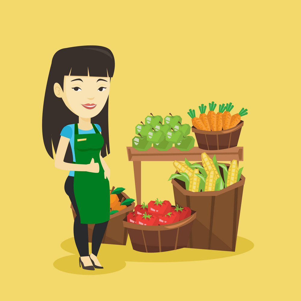 Asian female supermarket worker giving thumb up. Young female supermarket worker standing on the background of shelves with vegetables and fruits. Vector flat design illustration. Square layout.